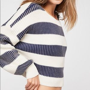 Free People Just My Stripe Pullover Sweater
